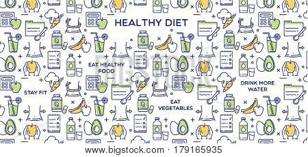 Healthy diet vector illustration, fitness and nutrition.