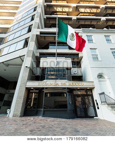 Washignton DC, USA - March 4, 2017: Embassy of Mexico on Pennsylvania Avenue