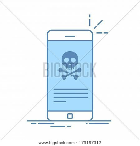 Broken smartphone. Malware notification on smartphone. Reporting virus, malicious application, spam, hacking mobile phone. Internet connection error, security risk. Thin line flat vector illustration