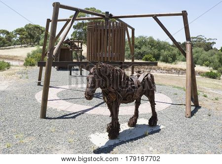 Kapunda South Australia Australia - December 3 2016: Clydesdal sculpture created by Joel Zimmermann and newly added to the Kapunda Copper Mine in November 2015.