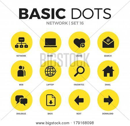 Network flat icons set with email, dialogue and search isolated vector illustration on white