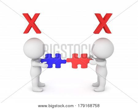 Two 3D characters holding incompatible puzzle pieces. Symbolizing the incompatibilty of different idea.
