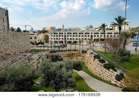 JERUSALEM ISRAEL - MARCH 25 2017: View from the walls of the Old City of Jerusalem and the square of the IDF