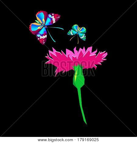 Knapweed flower on white background. vector illustration of blue little flowers butterfly