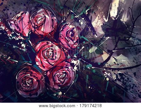Watercolor painting and digital nosegay. Flower red roses decorated with leaves