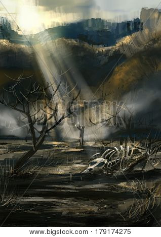digital Painting illustration. Lifestyle. Earth through drought gets Blessing from God