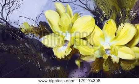 digital Painting illustration. Yellow orchid. Depending on the tree. Style oil paintings