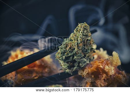 Macro detail of cannabis bud