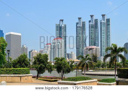 Beautiful View City Scape Lumpini Park