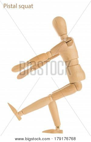 demonstration of wood manikin in pistal squat exercise pose on white background. poster