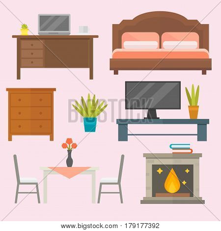 Furniture home decor icon set indoor cabinet interior room library office bookshelf modern restroom silhouette decoration vector illustration. Cartoon colorful bedside table and other signs.