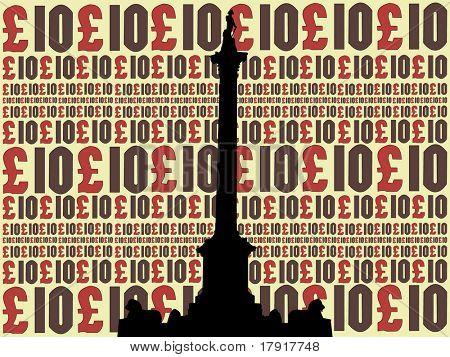 Nelson Column Trafalgar Square against 10 pound note collage