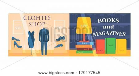 Flat design showcase restaurant shop facade icon store modern awning architecture window exterior and market front urban business house vector illustration. Supermarket kiosk real estate.