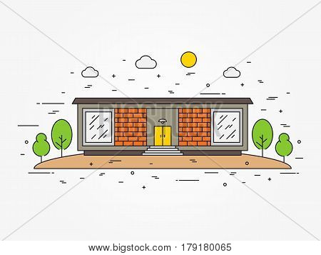 Family house line art vector illustration. Modern house architecture outline concept. Detached house mansion cottage homestead cabin bower landscape flat graphic design.