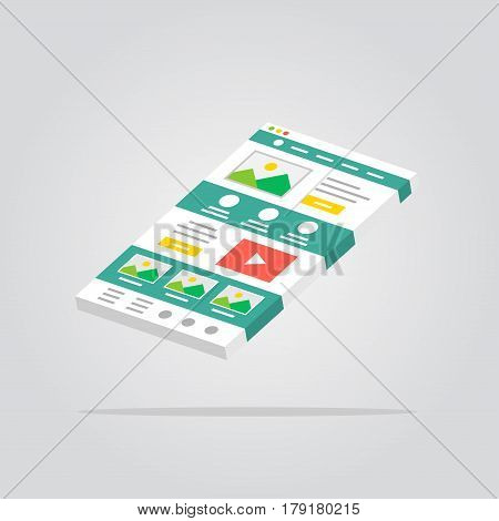Web page 3D isolated vector illustration. Web design technology 3D creative concept. Website interface isometric graphic design.