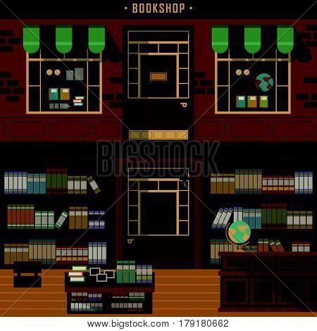 retro flat design of bookshop facades and interior scene