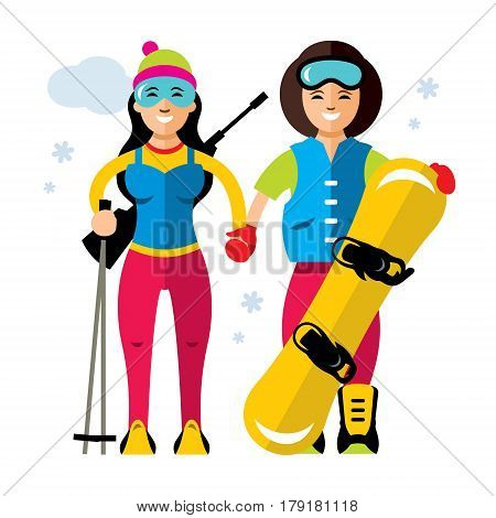 Two athletes with a rifle and a snowboarding. Isolated on a white background