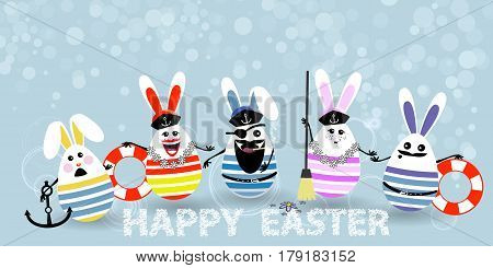 Easter. Eggs-rabbits Are Funny