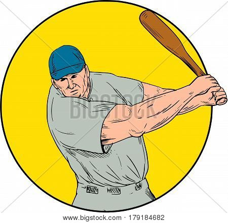 Drawing sketch style illustration of an american baseball player batter hitter swinging bat viewed from front set inside circle.