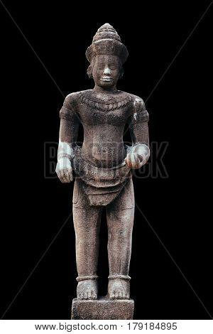 Stone Sculptures of Vishnu isolated on black background.