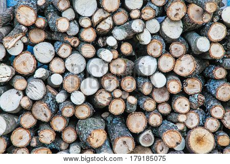 Wood log stack up limber work, texture