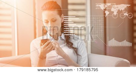Graphical interface by binary coding over black background against businesswoman sitting and using mobile phone 3d