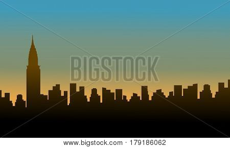 Silhouette chrysler building at sunset scenery vector illustration