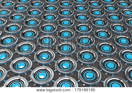 Honeycomb pattern of concentric metal shapes with blue elements. Circular objects connected in grid on grey background. Abstract futuristic background. 3D rendering illustration
