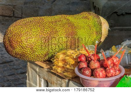Passionfruit and jackfruit at the market in Xiamen China