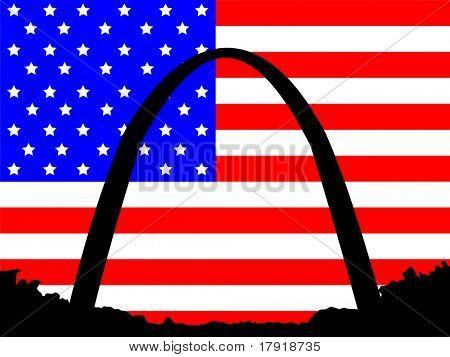 Gateway Arch St Louis Missouri against American Flag