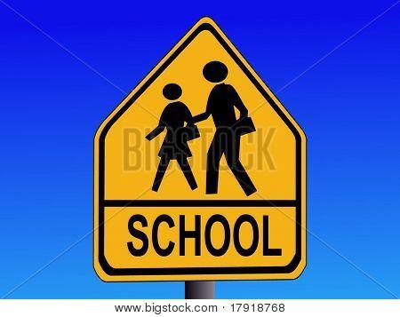 American warning school road sign illustration on blue