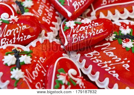 Licitars of Marija Bistrica, colorfully decorated biscuits made of sweet honey dough that are part of Croatian cultural heritage
