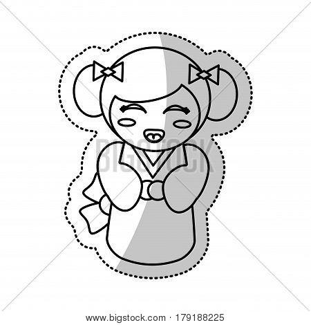 kokeshi doll geisha traditional line vector illustration eps 10