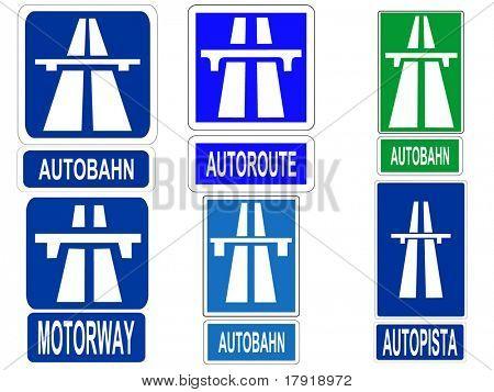 German Swiss Austrian Autobahn, French Autoroute, Spanish Autopista and British motorway signs