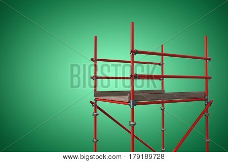 Digitally generated image of red scaffoldings against green vignette