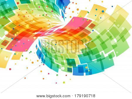 Splash multicolored abstract element on white event background