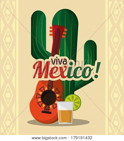 viva mexico - cactus guitar and drink tequila vector illustration eps 10