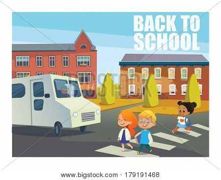 Smiling children crossing street in front of bus. Happy kids walking across pedestrian crosswalk against buildings on background. Back to school concept. Vector illustration for website, banner, ad.