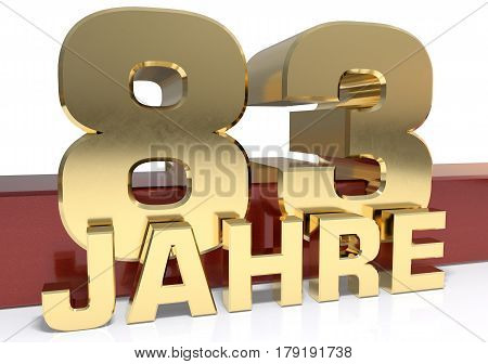 Golden digit eighty three and the word of the year. Translated from the German - years.3D illustration