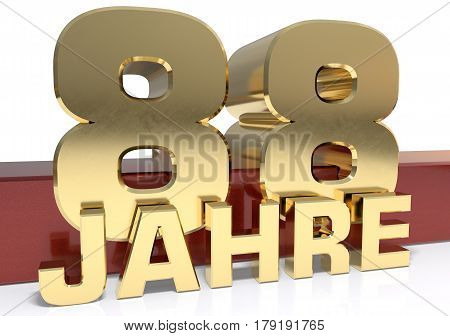 Golden digit eighty eight and the word of the year. Translated from the German - years.3D illustration