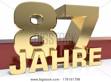 Golden digit eighty seven and the word of the year. Translated from the German - years.3D illustration