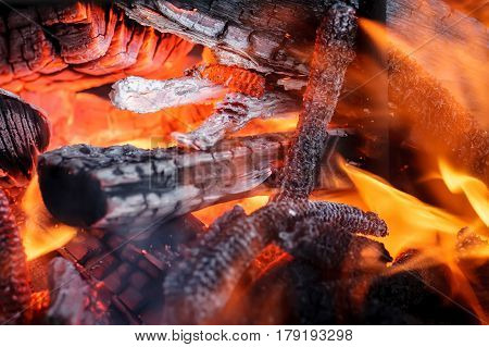 Flame burning in the dark abstract defocus. wood in fire