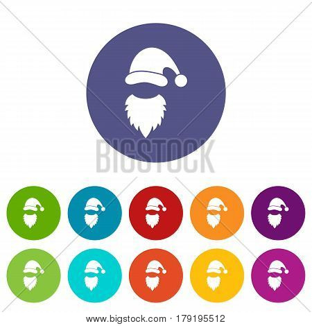 Cap with pompon of Santa Claus and beard set icons in different colors isolated on white background
