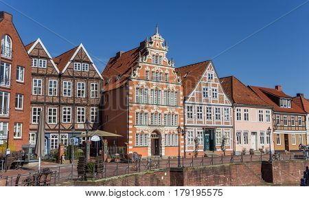 STADE, GERMANY - MARCH 27, 2017: Historical houses at the central canal in Stade, Germany