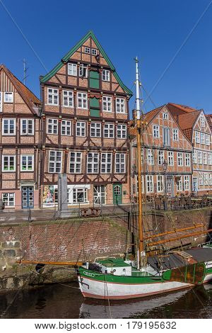 STADE, GERMANY - MARCH 27, 2017: Old ship in the historical harbor of Stade, Germany