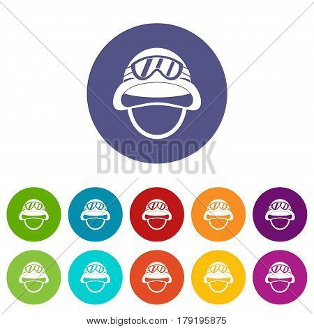 Military metal helmet set icons in different colors isolated on white background