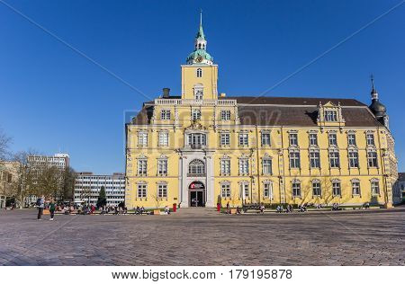 OLDENBURG, GERMANY - MARCH 27, 2017: Baroque castle on the central square of Oldenburg, Germany