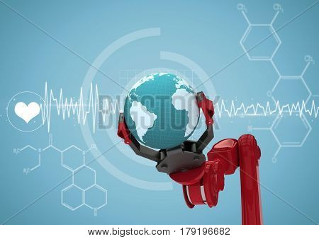 Digital composite of Red robot claw with globe against white medical interface and blue background