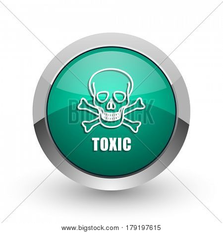 Toxic skull silver metallic chrome web design green round internet icon with shadow on white background.