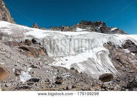 View of Mountain Pass with large severe Glacier and steep Icefall